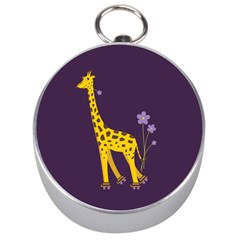 Purple Roller Skating Cute Cartoon Giraffe Silver Compass