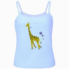 Cute Roller Skating Cartoon Giraffe Baby Blue Spaghetti Tank
