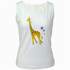 Cute Roller Skating Cartoon Giraffe Women s Tank Top (White)