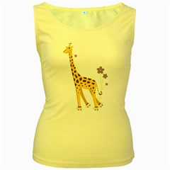 Cute Roller Skating Cartoon Giraffe Women s Tank Top (yellow)