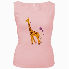 Cute Roller Skating Cartoon Giraffe Women s Tank Top (pink)