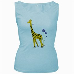 Cute Roller Skating Cartoon Giraffe Women s Tank Top (Baby Blue)