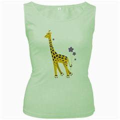 Cute Roller Skating Cartoon Giraffe Women s Tank Top (Green)