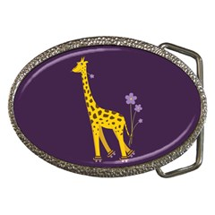 Cute Roller Skating Cartoon Giraffe Belt Buckle (Oval)