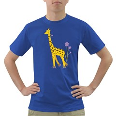 Cute Roller Skating Cartoon Giraffe Men s T Shirt (colored)