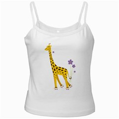 Cute Roller Skating Cartoon Giraffe White Spaghetti Top
