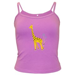 Cute Roller Skating Cartoon Giraffe Spaghetti Top (colored)