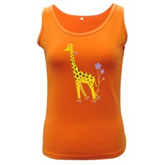 Cute Roller Skating Cartoon Giraffe Women s Tank Top (Dark Colored)