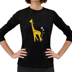 Cute Roller Skating Cartoon Giraffe Women s Long Sleeve T-shirt (Dark Colored)