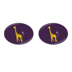 Cute Roller Skating Cartoon Giraffe Cufflinks (Oval)