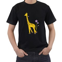 Cute Roller Skating Cartoon Giraffe Men s T Shirt (black)