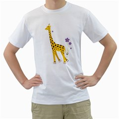 Cute Roller Skating Cartoon Giraffe Men s T Shirt (white)