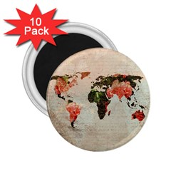 Vintageworldmap1200 2.25  Button Magnet (10 pack)
