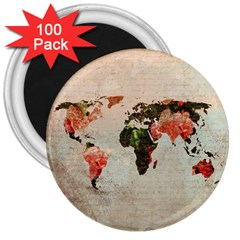 Vintageworldmap1200 3  Button Magnet (100 pack)