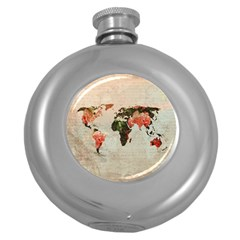 Vintageworldmap1200 Hip Flask (Round)