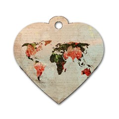 Vintageworldmap1200 Dog Tag Heart (Two Sided)
