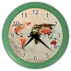 Vintageworldmap1200 Wall Clock (color)