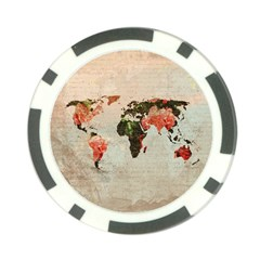 Vintageworldmap1200 Poker Chip