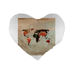 Vintageworldmap1200 16  Premium Heart Shape Cushion