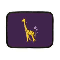 Purple Cute Cartoon Giraffe Netbook Sleeve (small)