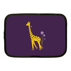 Purple Cute Cartoon Giraffe Netbook Sleeve (medium)