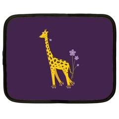 Purple Cute Cartoon Giraffe Netbook Sleeve (Large)