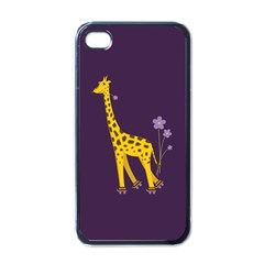 Purple Cute Cartoon Giraffe Apple Iphone 4 Case (black)