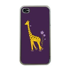 Purple Cute Cartoon Giraffe Apple iPhone 4 Case (Clear)