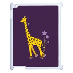 Purple Cute Cartoon Giraffe Apple Ipad 2 Case (white)