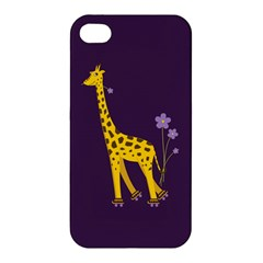 Purple Cute Cartoon Giraffe Apple Iphone 4/4s Hardshell Case