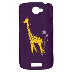 Purple Cute Cartoon Giraffe HTC One S Hardshell Case