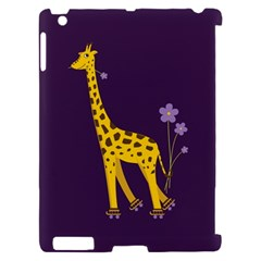 Purple Cute Cartoon Giraffe Apple iPad 2 Hardshell Case (Compatible with Smart Cover)