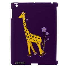 Purple Cute Cartoon Giraffe Apple iPad 3/4 Hardshell Case (Compatible with Smart Cover)