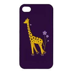 Purple Cute Cartoon Giraffe Apple iPhone 4/4S Premium Hardshell Case