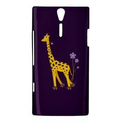 Purple Cute Cartoon Giraffe Sony Xperia S Hardshell Case