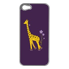 Purple Cute Cartoon Giraffe Apple Iphone 5 Case (silver)