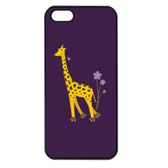 Purple Cute Cartoon Giraffe Apple iPhone 5 Seamless Case (Black)