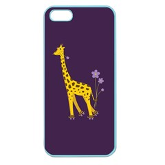 Purple Cute Cartoon Giraffe Apple Seamless Iphone 5 Case (color)