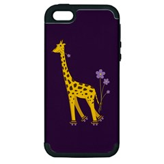 Purple Cute Cartoon Giraffe Apple Iphone 5 Hardshell Case (pc+silicone)