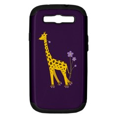 Purple Cute Cartoon Giraffe Samsung Galaxy S III Hardshell Case (PC+Silicone)