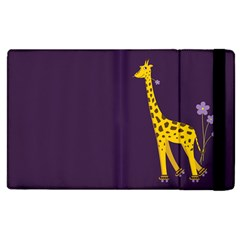 Purple Cute Cartoon Giraffe Apple iPad 2 Flip Case
