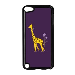 Purple Cute Cartoon Giraffe Apple iPod Touch 5 Case (Black)