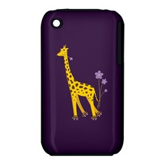 Purple Cute Cartoon Giraffe Apple iPhone 3G/3GS Hardshell Case (PC+Silicone)