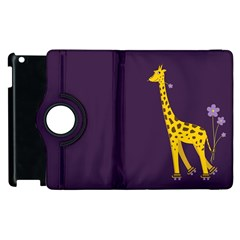 Purple Cute Cartoon Giraffe Apple iPad 2 Flip 360 Case