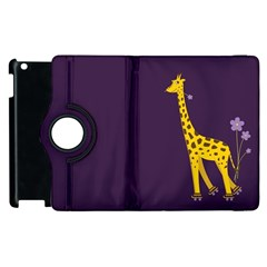 Purple Cute Cartoon Giraffe Apple iPad 3/4 Flip 360 Case