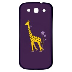 Purple Cute Cartoon Giraffe Samsung Galaxy S3 S III Classic Hardshell Back Case