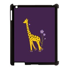 Purple Cute Cartoon Giraffe Apple iPad 3/4 Case (Black)