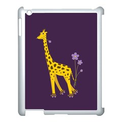 Purple Cute Cartoon Giraffe Apple iPad 3/4 Case (White)