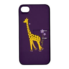 Purple Cute Cartoon Giraffe Apple Iphone 4/4s Hardshell Case With Stand