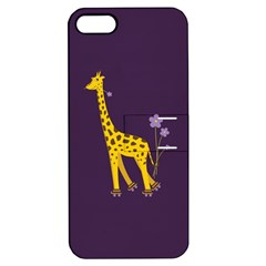 Purple Cute Cartoon Giraffe Apple iPhone 5 Hardshell Case with Stand
